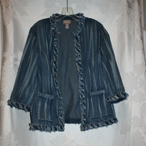 Chico's Light Weight Open Jean Jacket Size 2